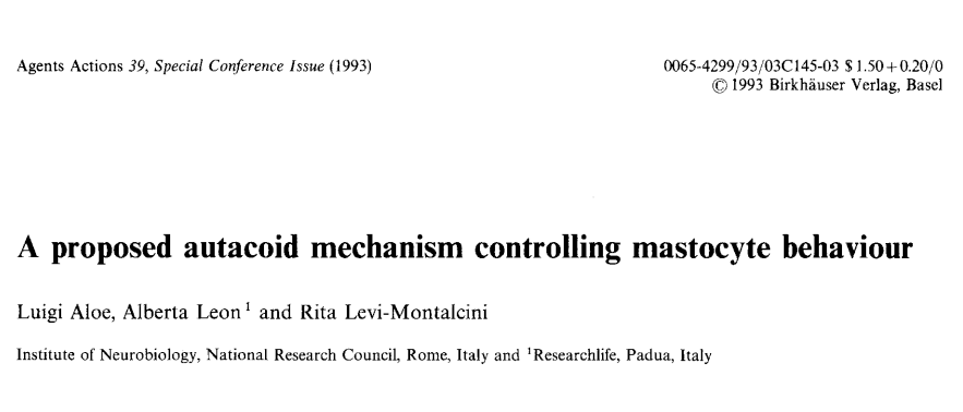 The first publication in 1993 stating that our endogenous PEA modulates overactive mast cells