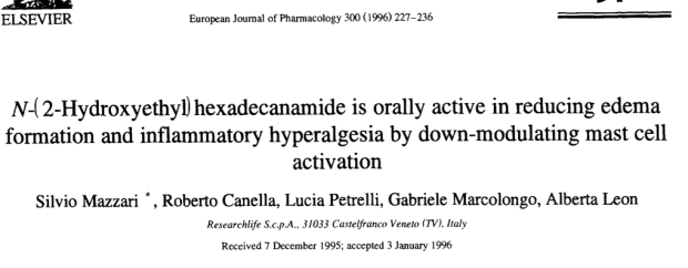 PEA in thes paper has been tested orally, and was clearly anti-inflammatory and analgesic in a number of models