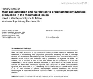 I mastociti svolgono un ruolo nella artrite reumatoide