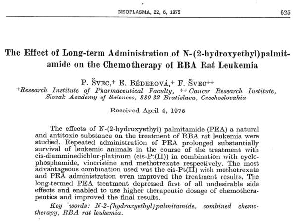 Palmitoylethanolamide against chemotherapy damage