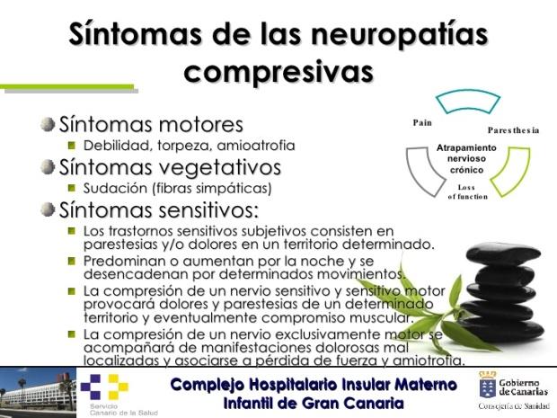Sintomas de las neuropathias compresivas