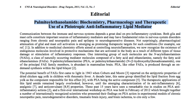 Review of Palmitoylethanolamide